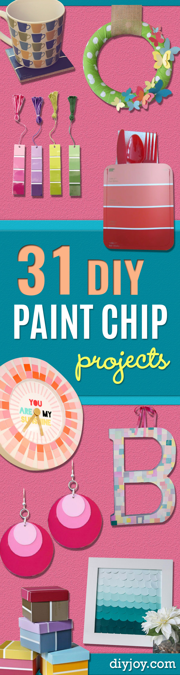 DIY Projects Made With Paint Chips - Best Creative Crafts, Easy DYI Projects You Can Make With Paint Chips - Cool Paint Chip Crafts and Project Tutorials - Crafty DIY Home Decor Ideas That Make Awesome DIY Gifts and Christmas Presents for Friends and Family