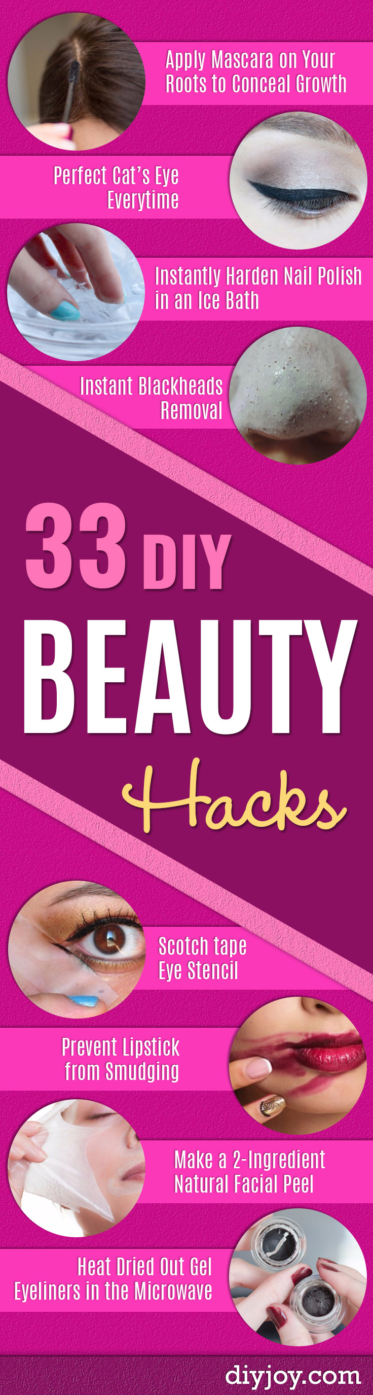 DIY Beauty Hacks - Cool Tips for Makeup, Hair and Nails - Step by Step Tutorials for Fixing Broken Makeup, Eye Shadow, Mascara, Foundation - Quick Beauty Ideas for Best Looks in A Hurry