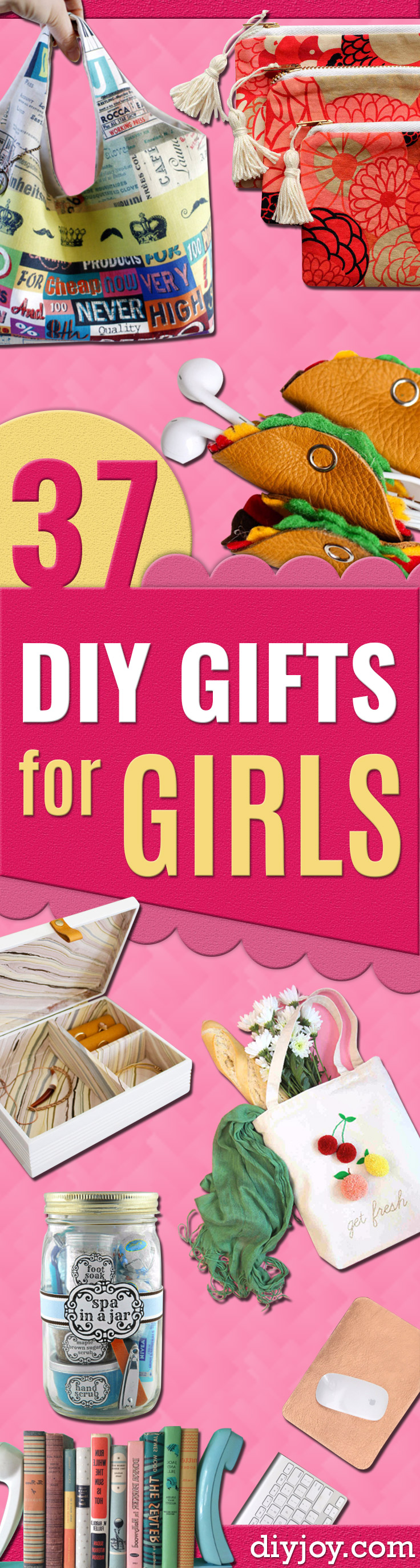DIY Gifts for Girls - Easy Gift Ideas for Young and Older Girls, Teens and Teenagers - Cool Room and Home Decor for Bedroom, Fashion, Jewelry and Hair Accessories - Cheap Craft Projects To Make For a Girl for Christmas Presents #diy #teencrafts #girlsgifts #christmasgifts
