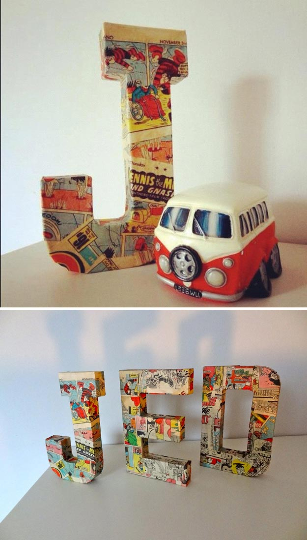 DIY Room Decor for Boys - 3D Paper Mache Letters - Best Creative Bedroom Ideas for Boy Rooms - Wall Art, Lamps, Rugs, Lamps, Beds, Bedding and Furniture You Can Make for Teens, Tweens and Teenagers #diy #homedecor #boys