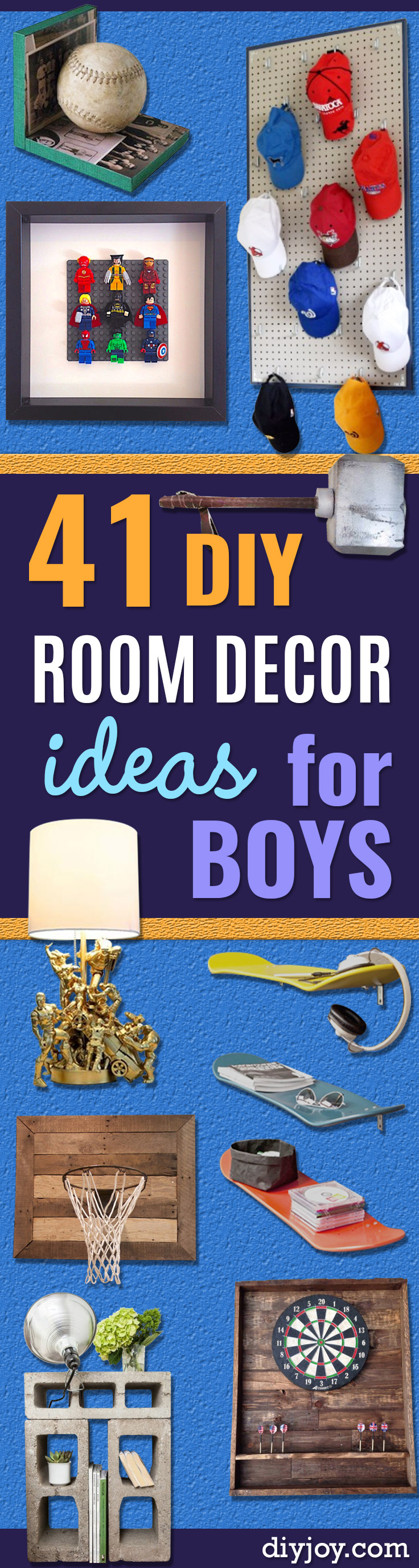 DIY Room Decor for Boys - Best Creative DIY Bedroom Ideas for Boy Rooms - Wall Art, Lamps, Rugs, Lamps, Beds, Bedding and Furniture You Can Make for Teens, Tweens and Teenagers
