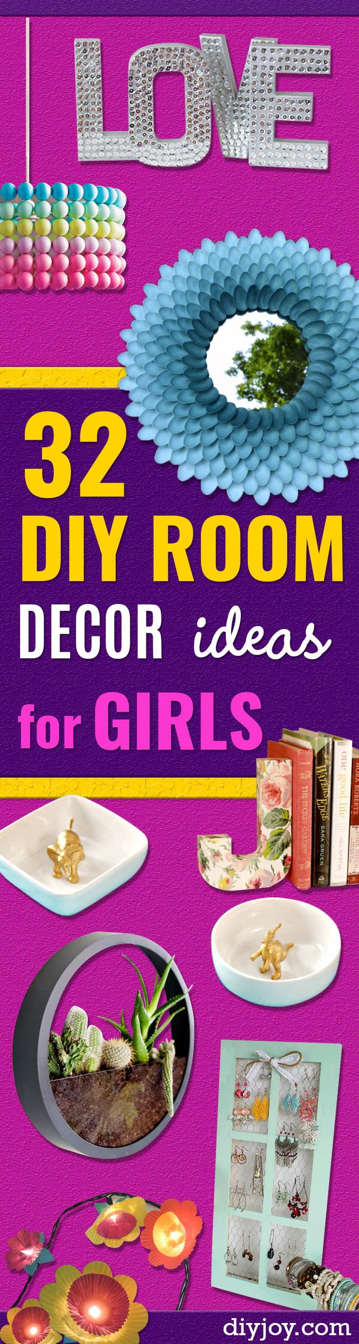 42 DIY Room Decor for Girls - Awesome Do It Yourself Room Decor For Girls, Room Decorating Ideas, Creative Room Decor For Girls, Bedroom Accessories, Insanely Cute Room Decor For Girls http://diyjoy.com/diy-room-decor-girls