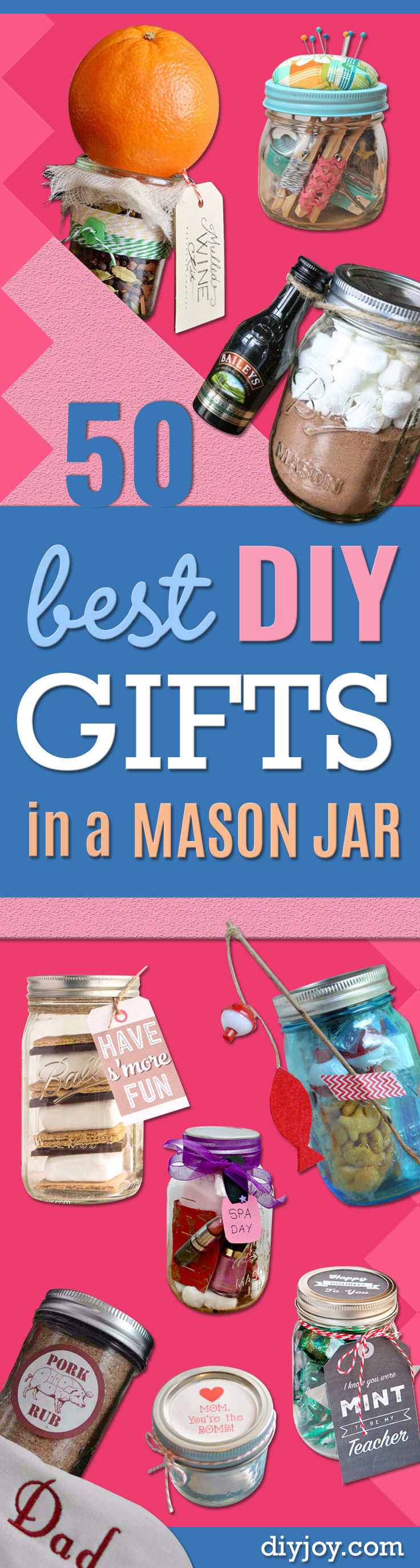 Best DIY Gifts in Mason Jars - Cute Mason Jar Crafts and Recipe Ideas that Make Great DIY Christmas Presents for Friends and Family - Gifts for Her, Him, Mom and Dad - Gifts in A Jar That Are Easy, Quick and Cheap http://diyjoy.com/best-diy-mason-jar-gifts