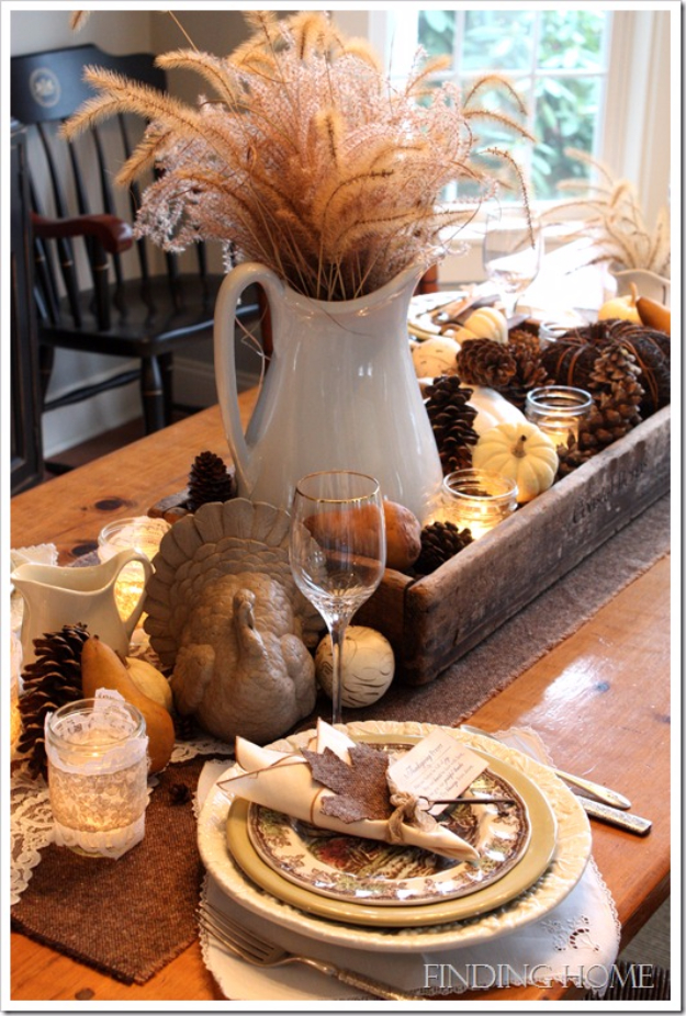 Best Thanksgiving Centerpieces and Table Decor - A Table For Thanksgiving - Creative Crafts for Your Thanksgiving Dinner Table. Mason Jars, Flowers, Leaves, Candles, Pumpkin Ideas #thanksgiving #diy