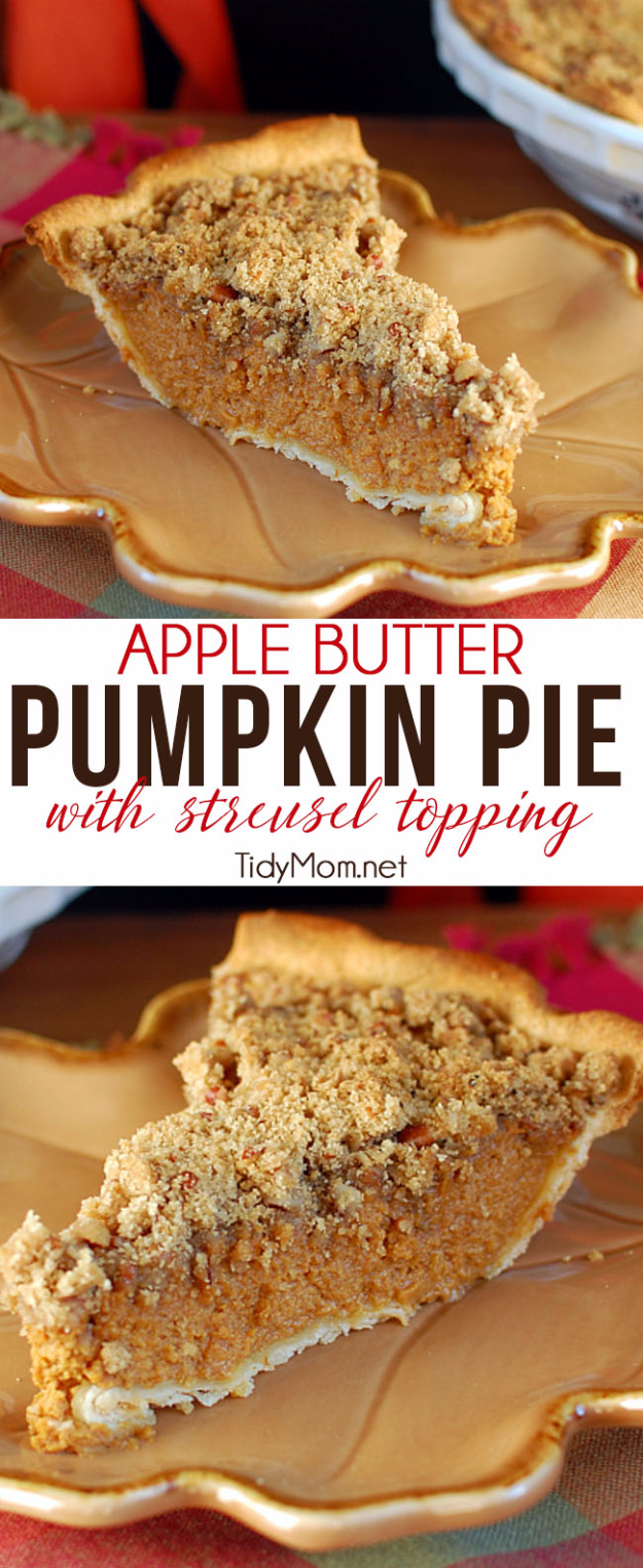 Best Pie Recipes - Apple Butter Pumpkin Pie With Streusel Topping - Easy Pie Recipes From Scratch for Pecan, Apple, Banana, Pumpkin, Fruit, Peach and Chocolate Pies. Yummy Graham Cracker Crusts and Homemade Meringue - Thanksgiving and Christmas Pies and Mason Jar Pie Recipes http://diyjoy.com/best-pie-recipes