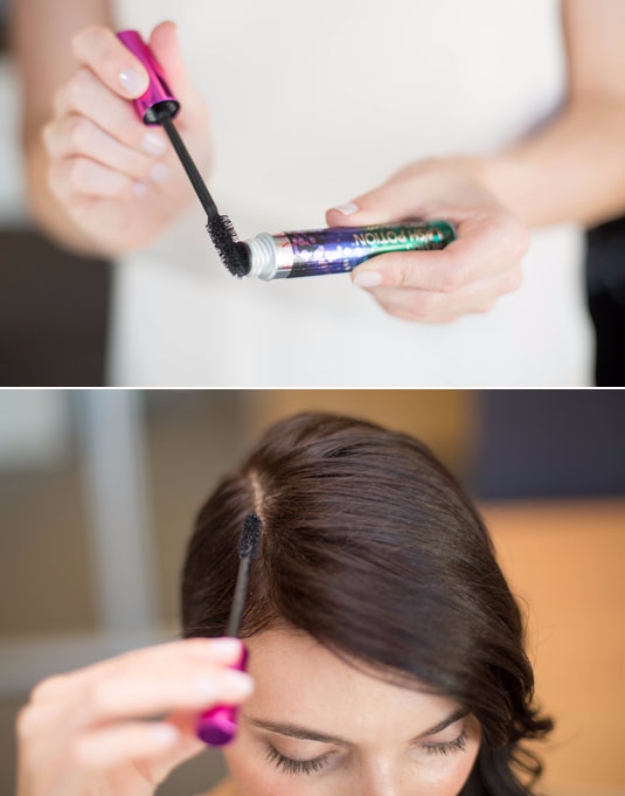 DIY Beauty Hacks - Apply Mascara On Your Roots To Conceal Regrowth Or Grays - Cool Tips for Makeup, Hair and Nails - Step by Step Tutorials for Fixing Broken Makeup, Eye Shadow, Mascara, Foundation - Quick Beauty Ideas for Best Looks in A Hurry http://diyjoy.com/diy-beauty-hacks