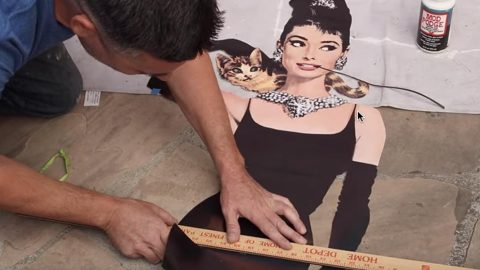 Watch The Amazing Thing He Does With A Famous Picture Of Our Beloved Audrey Hepburn! | DIY Joy Projects and Crafts Ideas