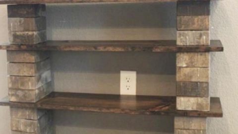 He Makes An Amazing Shelf Out Of Wood And Cinder Blocks