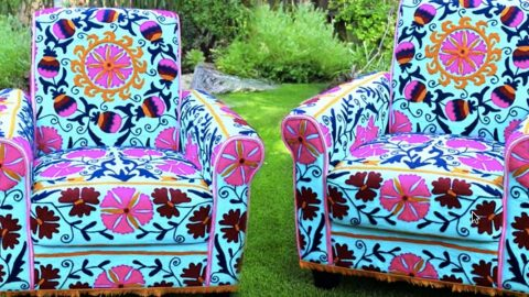 he shows us a quick and easy way to reupholster an old chair into