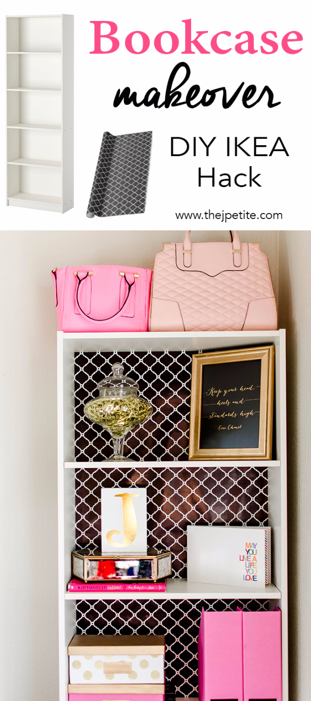 Best IKEA Hacks and DIY Hack Ideas for Furniture Projects and Home Decor from IKEA - Bookcase Makeover DIY IKEA Hack - Creative IKEA Hack Tutorials for DIY Platform Bed, Desk, Vanity, Dresser, Coffee Table, Storage and Kitchen, Bedroom and Bathroom Decor #ikeahacks #diy
