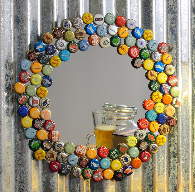 DIY Mirrors - Bottle Cap Collector Mirror - Best Do It Yourself Mirror Projects and Cool Crafts Using Mirrors - Home Decor, Bedroom Decor and Bath Ideas - Step By Step Tutorials With Instructions