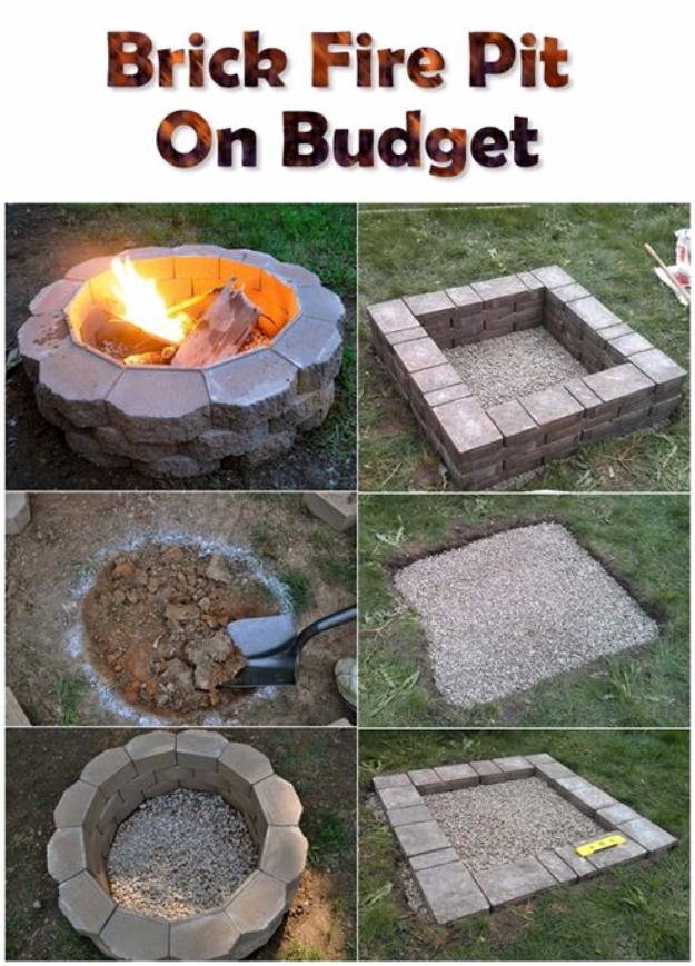 31 diy outdoor fireplace and firepit ideas diy fireplace ideas brick firepit on a budget do it yourself firepit projects and solutioingenieria Image collections