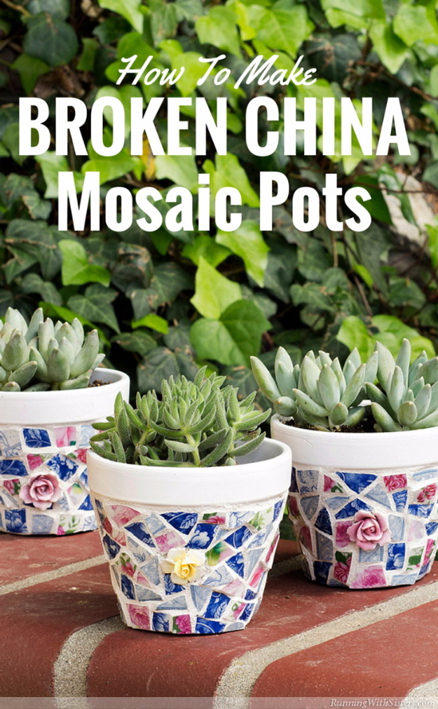 DIY Projects Made With Broken Tile - Broken China Mosaic Pots - Best Creative Crafts, Easy DYI Projects You Can Make With Tiles - Mosaic Patterns and Crafty DIY Home Decor Ideas That Make Awesome DIY Gifts and Christmas Presents for Friends and Family