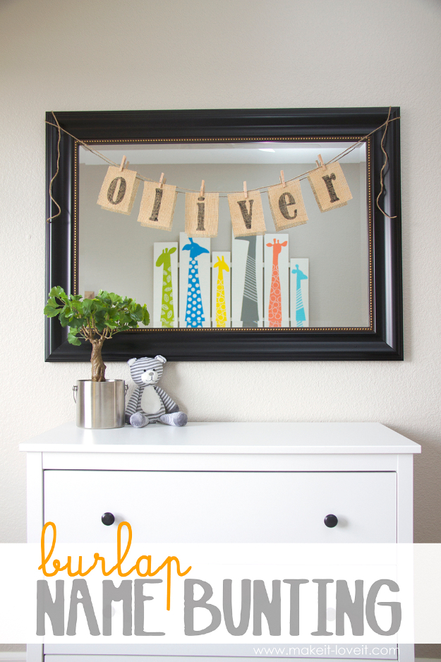 DIY Room Decor for Boys - Burlap Name Bunting - Best Creative Bedroom Ideas for Boy Rooms - Wall Art, Lamps, Rugs, Lamps, Beds, Bedding and Furniture You Can Make for Teens, Tweens and Teenagers #diy #homedecor #boys
