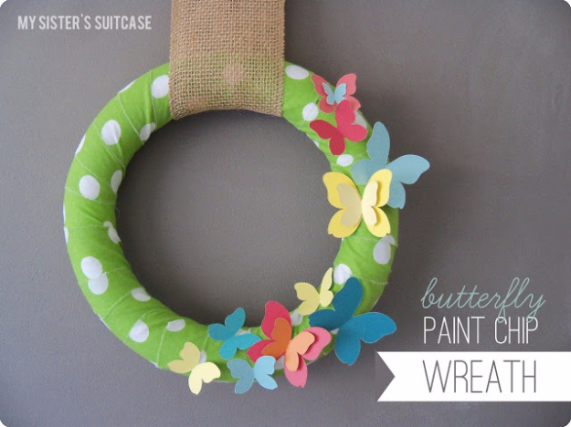 DIY Projects Made With Paint Chips - Butterfly Paint Chip Wreath - Best Creative Crafts, Easy DYI Projects You Can Make With Paint Chips - Cool Paint Chip Crafts and Project Tutorials - Crafty DIY Home Decor Ideas That Make Awesome DIY Gifts and Christmas Presents for Friends and Family #diy #crafts #paintchip #cheapcrafts