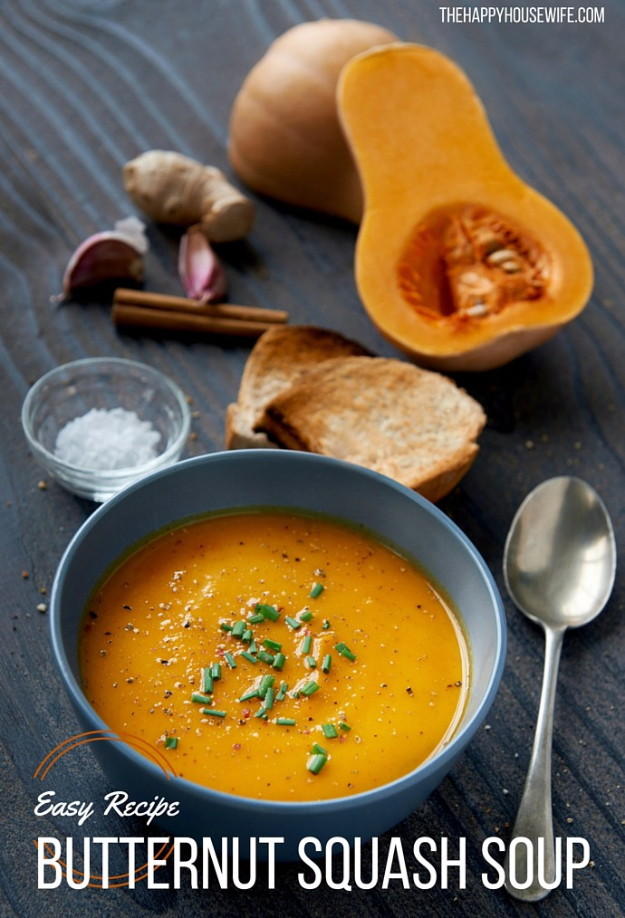 Easy Thanksgiving Recipes - Butternut Squash Soup - Best Simple and Quick Recipe Ideas for Thanksgiving Dinner. Cranberries, Turkey, Gravy, Sauces, Sides, Vegetables, Dips and Desserts - DIY Cooking Tutorials With Step by Step Instructions - Ideas for A Crowd, Parties and Last Minute Recipes http://diyjoy.com/easy-thanksgiving-recipes
