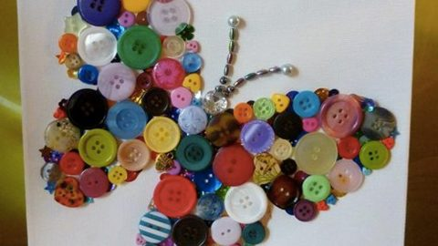 We All Love Butterflies And She Makes A Beautiful Butterfly Out Of Colorful Buttons! | DIY Joy Projects and Crafts Ideas