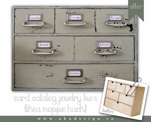 Best IKEA Hacks and DIY Hack Ideas for Furniture Projects and Home Decor from IKEA - Card Catalog Jewelry Box - Creative IKEA Hack Tutorials for DIY Platform Bed, Desk, Vanity, Dresser, Coffee Table, Storage and Kitchen, Bedroom and Bathroom Decor #ikeahacks #diy