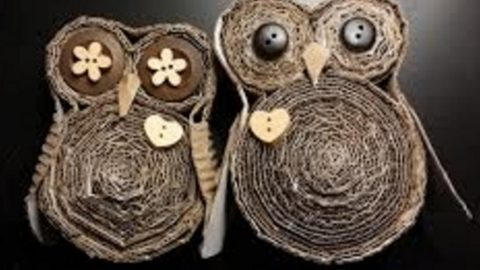 she makes the cutest owls out of cardboard of all things fascinating