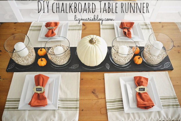 Best Thanksgiving Centerpieces and Table Decor - Chalkboard Table Runner - Creative Crafts for Your Thanksgiving Dinner Table. Mason Jars, Flowers, Leaves, Candles, Pumpkin Ideas #thanksgiving #diy