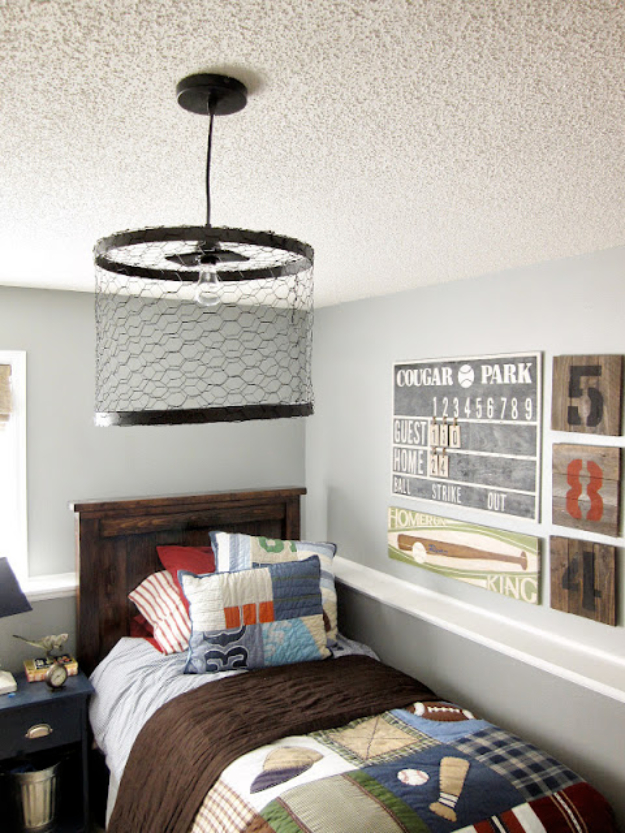 DIY Room Decor for Boys - Chicken Wire Light Fixture - Best Creative Bedroom Ideas for Boy Rooms - Wall Art, Lamps, Rugs, Lamps, Beds, Bedding and Furniture You Can Make for Teens, Tweens and Teenagers #diy #homedecor #boys