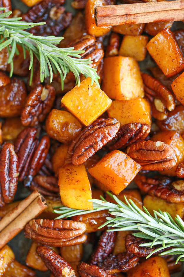 Best Thanksgiving Dinner Recipes - Cinnamon Pecan Roasted Butternut Squash - Easy DIY Desserts, Sides, Sauces, Main Courses, Vegetables, Pie and Side Dishes. Simple Gravy, Cranberries, Turkey and Pies With Step by Step Tutorials