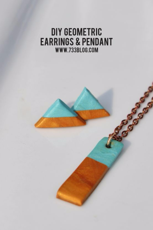Best DIY Gifts for Girls - Clay Geometric Earring And Necklace Set - Cute Crafts and DIY Projects that Make Cool DYI Gift Ideas for Young and Older Girls, Teens and Teenagers - Awesome Room and Home Decor for Bedroom, Fashion, Jewelry and Hair Accessories - Cheap Craft Projects To Make For a Girl -DIY Christmas Presents for Tweens #diygifts #girlsgifts