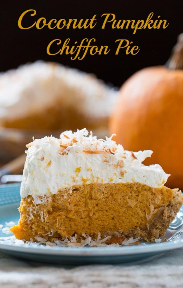 Best Pie Recipes - Coconut Pumpkin Chiffon Pie - Easy Pie Recipes From Scratch for Pecan, Apple, Banana, Pumpkin, Fruit, Peach and Chocolate Pies. Yummy Graham Cracker Crusts and Homemade Meringue #recipes #dessert