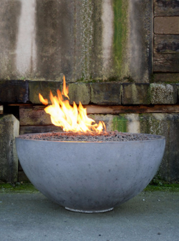 DIY Fireplace Ideas - Concrete Pit Fire Bowl - Do It Yourself Firepit Projects and Fireplaces for Your Yard, Patio, Porch and Home. Outdoor Fire Pit Tutorials for Backyard with Easy Step by Step Tutorials - Cool DIY Projects for Men #diyideas #outdoors #diy