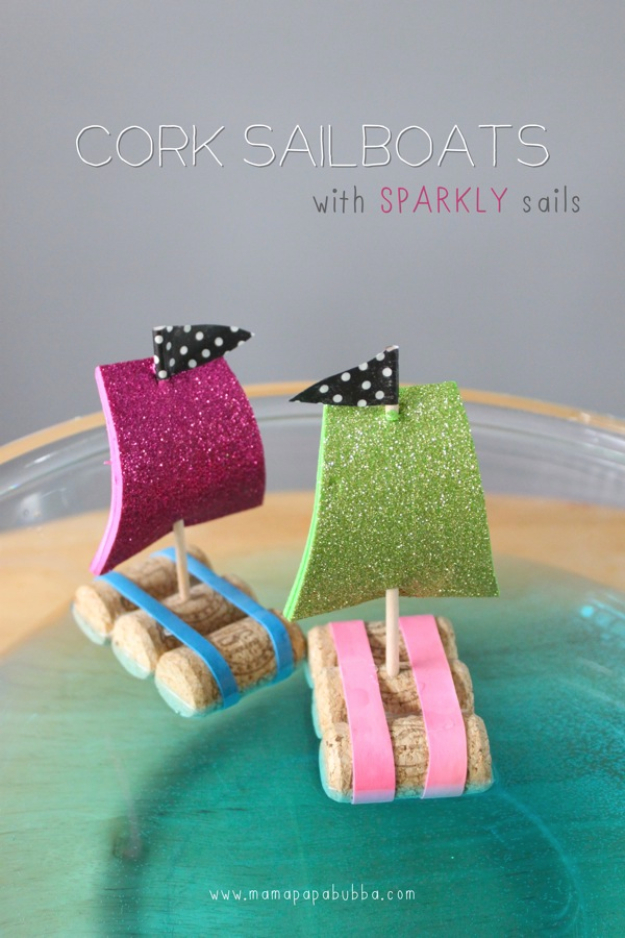 Crafts For Kids To Make At Home - Cork Sail Boats - Cheap DIY Projects and Fun Craft Ideas for Children - Cute Paper Crafts, Fall and Winter Fun, Things For Toddlers, Babies, Boys and Girls #kidscrafts #crafts #kids