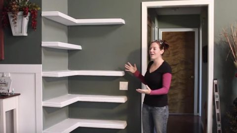 Watch How She Builds These Awesome Corner Shelves To Save