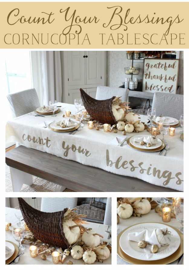 DIY Thanksgiving Decor Ideas - Count Your Blessings Cornucopia - Fall Projects and Crafts for Thanksgiving Dinner Centerpieces, Vases, Arrangements With Leaves and Pumpkins - Easy and Cheap Crafts to Make for Home Decor #diy