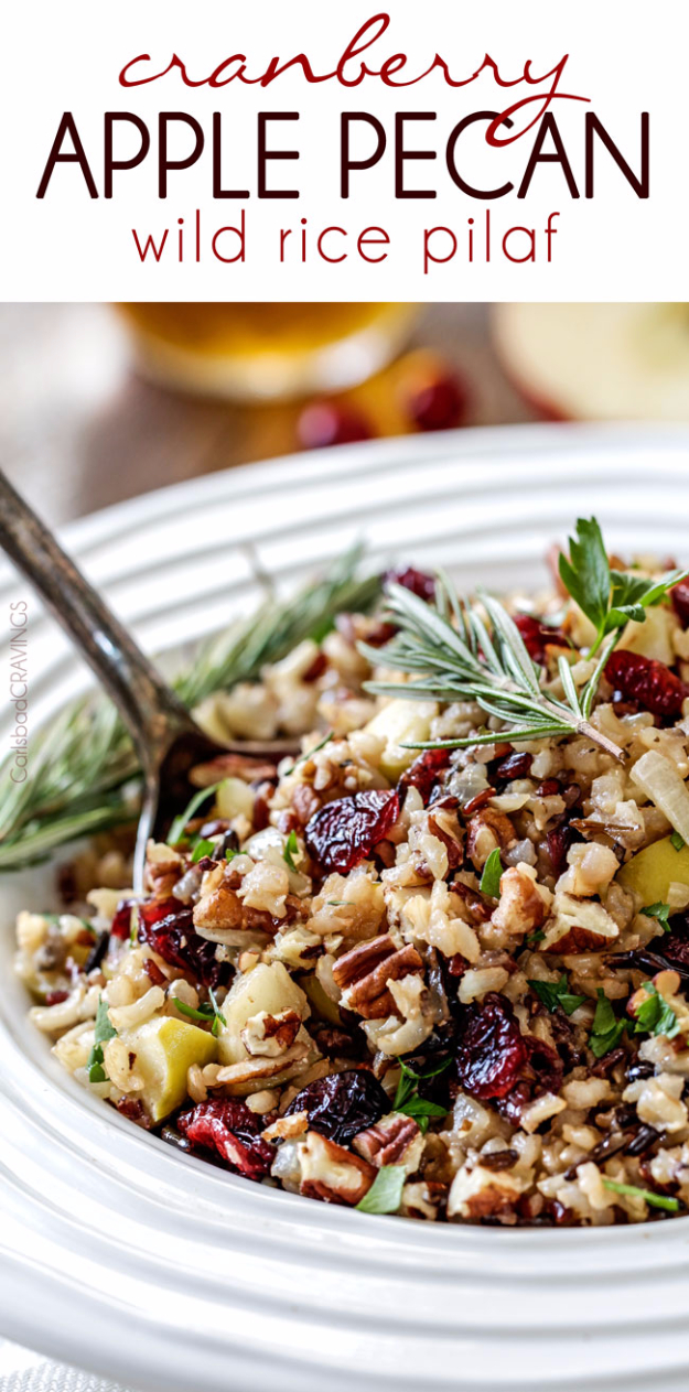 Best Thanksgiving Dinner Recipes -Cranberry Apple Pecan Wild Rice Pilaf - Easy DIY Desserts, Sides, Sauces, Main Courses, Vegetables, Pie and Side Dishes. Simple Gravy, Cranberries, Turkey and Pies With Step by Step Tutorials http://diyjoy.com/best-thanksgiving-dinner-recipes