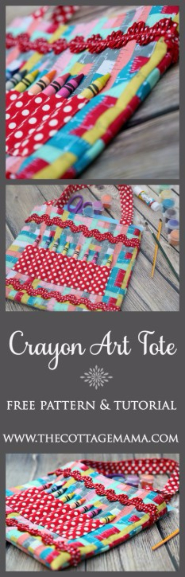 DIY Gifts To Sew For Friends - Crayon Art Tote - Quick and Easy Sewing Projects and Free Patterns for Best Gift Ideas and Presents - Creative Step by Step Tutorials for Beginners - Cute Home Decor, Accessories, Kitchen Crafts and DIY Fashion Ideas #diy #crafts #sewing