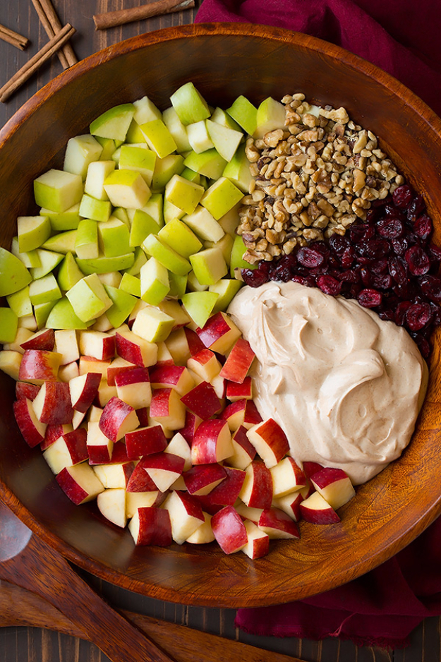 Best Thanksgiving Dinner Recipes - Creamy Cinnamon Apple Walnut Fruit Salad - Easy DIY Desserts, Sides, Sauces, Main Courses, Vegetables, Pie and Side Dishes. Simple Gravy, Cranberries, Turkey and Pies With Step by Step Tutorials