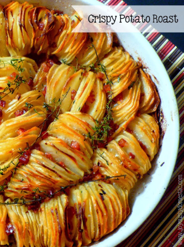 Best Thanksgiving Dinner Recipes - Crispy Potato Roast - Easy DIY Desserts, Sides, Sauces, Main Courses, Vegetables, Pie and Side Dishes. Simple Gravy, Cranberries, Turkey and Pies With Step by Step Tutorials
