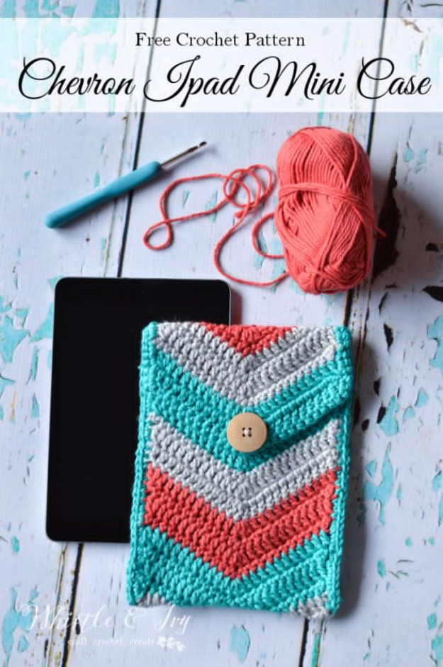 Best DIY Gifts for Teenage Girls - Crochet Chevron iPad Mini Case - Cute Crafts and DIY Projects that Make Cool DYI Gift Ideas for Young and Older Girls, Teens and Teenagers - Awesome Room and Home Decor for Bedroom, Fashion, Jewelry and Hair Accessories - Cheap Craft Projects To Make For a Girl -DIY Christmas Presents for Tweens #diygifts #girlsgifts