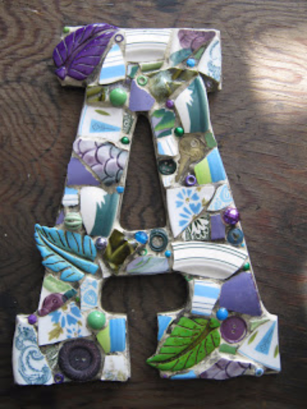 DIY Projects Made With Broken Tile - Custom Mosaic Letter - Best Creative Crafts, Easy DYI Projects You Can Make With Tiles - Mosaic Patterns and Crafty DIY Home Decor Ideas That Make Awesome DIY Gifts and Christmas Presents for Friends and Family