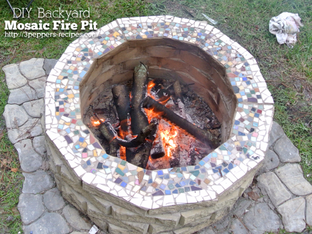 DIY Fireplace Ideas - DIY Backyard Mosaic Firepit - Do It Yourself Firepit Projects and Fireplaces for Your Yard, Patio, Porch and Home. Outdoor Fire Pit Tutorials for Backyard with Easy Step by Step Tutorials - Cool DIY Projects for Men #diyideas #outdoors #diy