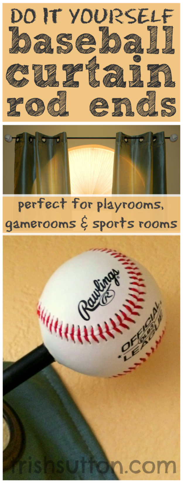 DIY Room Decor for Boys - DIY Baseball Curtain Rod Ends - Best Creative Bedroom Ideas for Boy Rooms - Wall Art, Lamps, Rugs, Lamps, Beds, Bedding and Furniture You Can Make for Teens, Tweens and Teenagers #diy #homedecor #boys