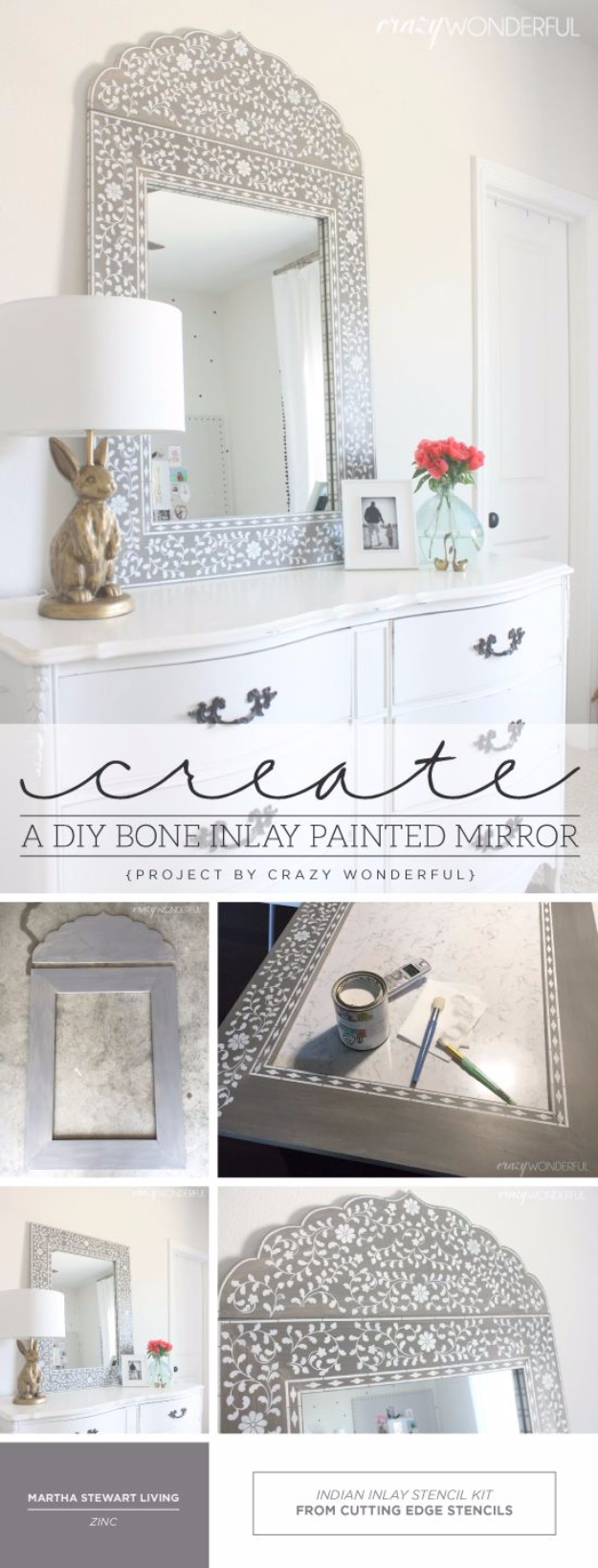 DIY Mirrors - DIY Bone Inlay Painted Mirror - Best Do It Yourself Mirror Projects and Cool Crafts Using Mirrors - Home Decor, Bedroom Decor and Bath Ideas - Step By Step Tutorials With Instructions