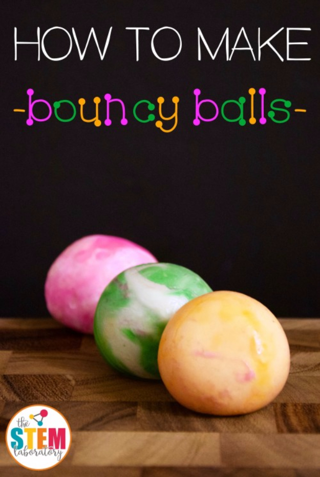 Crafts For Kids To Make At Home - DIY Bouncy Balls - Cheap DIY Projects and Fun Craft Ideas for Children - Cute Paper Crafts, Fall and Winter Fun, Things For Toddlers, Babies, Boys and Girls #kidscrafts #crafts #kids