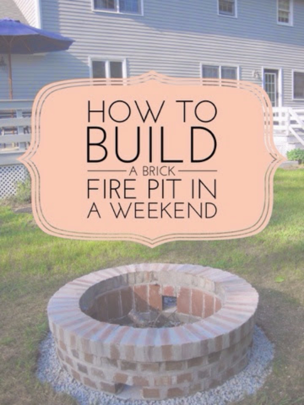 DIY Fireplace Ideas - DIY Brick Firepit Project - Do It Yourself Firepit Projects and Fireplaces for Your Yard, Patio, Porch and Home. Outdoor Fire Pit Tutorials for Backyard with Easy Step by Step Tutorials - Cool DIY Projects for Men #diyideas #outdoors #diy