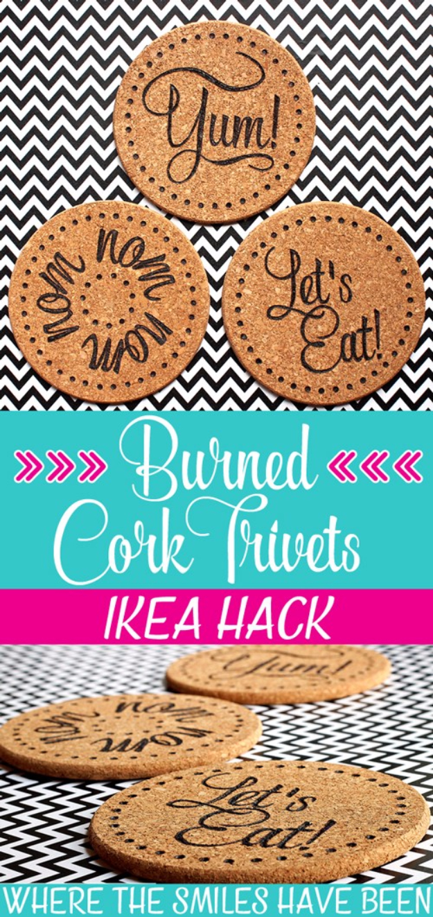 Best IKEA Hacks and DIY Hack Ideas for Furniture Projects and Home Decor from IKEA - DIY Burned IKEA Cork Trivets - Creative IKEA Hack Tutorials for DIY Platform Bed, Desk, Vanity, Dresser, Coffee Table, Storage and Kitchen, Bedroom and Bathroom Decor #ikeahacks #diy