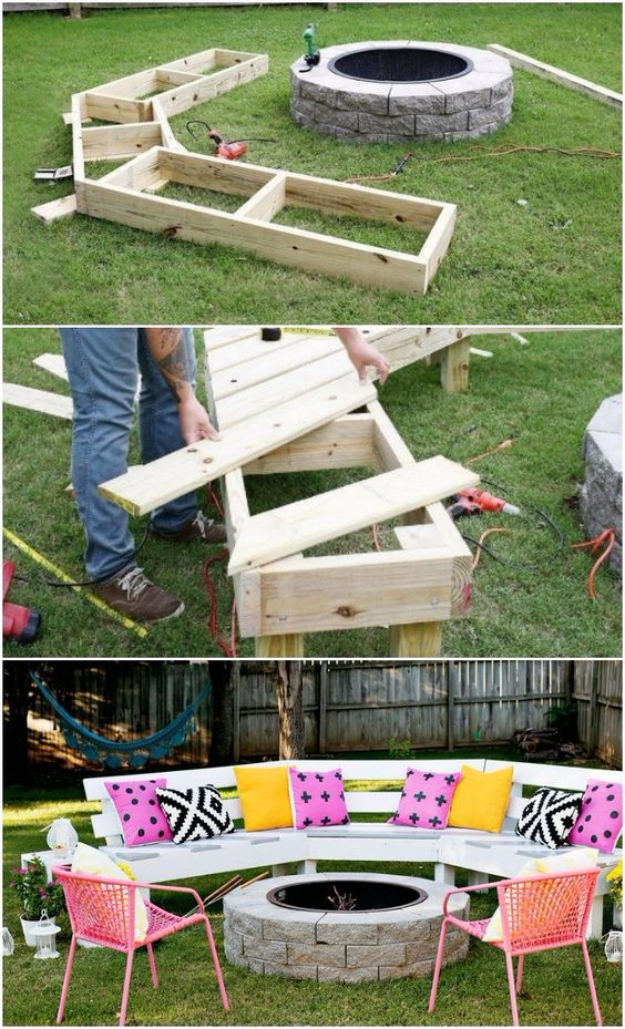 DIY Fireplace Ideas - DIY Circle Bench Around Firepit - Do It Yourself Firepit Projects and Fireplaces for Your Yard, Patio, Porch and Home. Outdoor Fire Pit Tutorials for Backyard with Easy Step by Step Tutorials - Cool DIY Projects for Men #diyideas #outdoors #diy