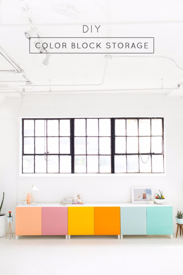Best IKEA Hacks and DIY Hack Ideas for Furniture Projects and Home Decor from IKEA - DIY Color Block Storage - Creative IKEA Hack Tutorials for DIY Platform Bed, Desk, Vanity, Dresser, Coffee Table, Storage and Kitchen, Bedroom and Bathroom Decor #ikeahacks #diy