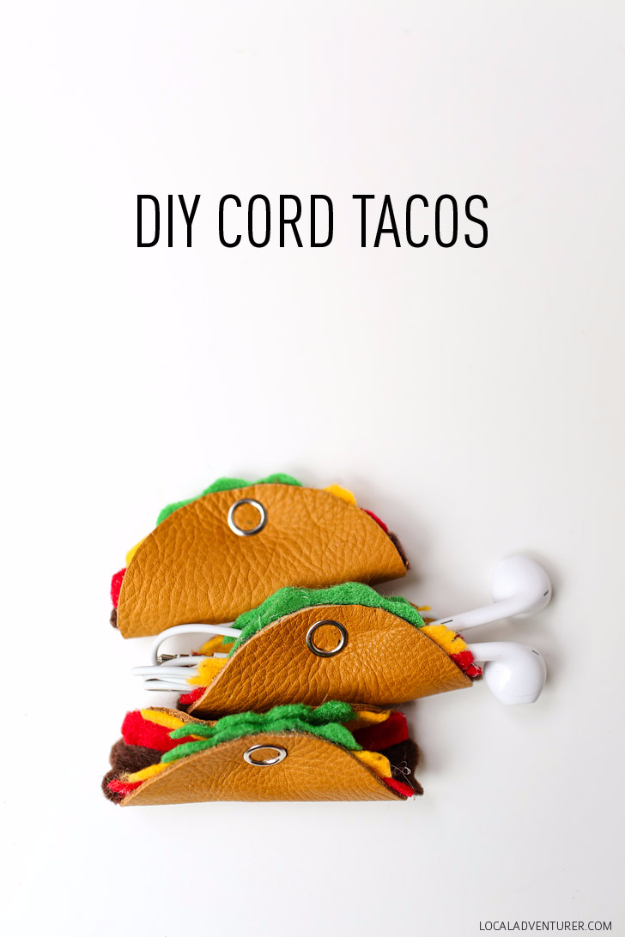 Easy DIY Gifts for Girls - DIY Cord Tacos -Cute Crafts for a Girl Gift Idea - DIY Projects DYI Christmas Gifts Ideas for Young and Older Girls, Teens and Teenagers - Awesome Room and Home Decor for Bedroom, Fashion, Jewelry and Hair Accessories - Cheap Craft Projects To Make For a Girl for Christmas Presents