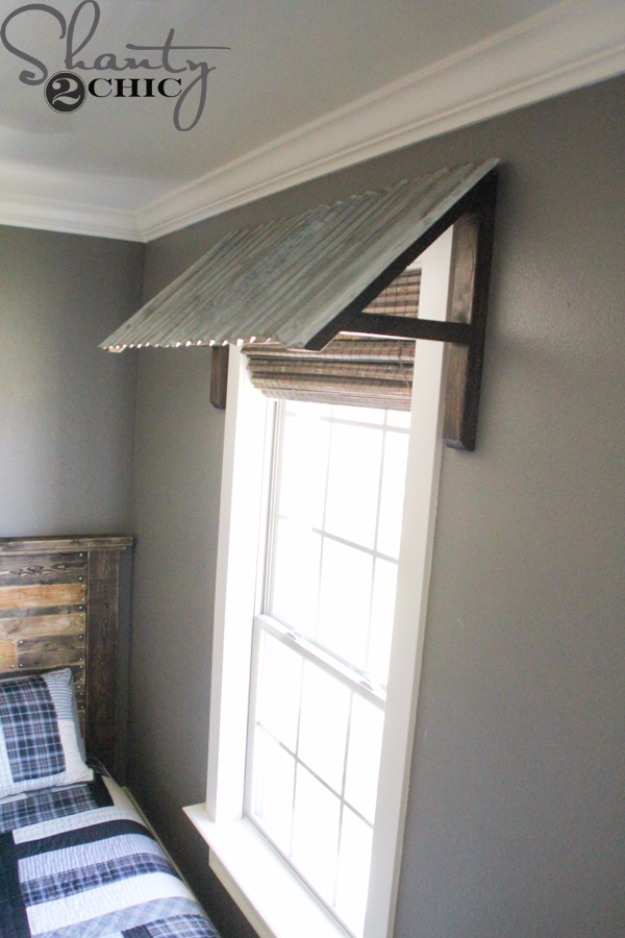 DIY Room Decor for Boys - DIY Corrugated Metal Awning - Best Creative Bedroom Ideas for Boy Rooms - Wall Art, Lamps, Rugs, Lamps, Beds, Bedding and Furniture You Can Make for Teens, Tweens and Teenagers #diy #homedecor #boys