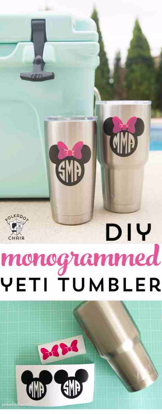 Best DIY Gifts for Girls - DIY Disney Monogrammed Yeti Tumbler - Cute Crafts and DIY Projects that Make Cool DYI Gift Ideas for Young and Older Girls, Teens and Teenagers - Awesome Room and Home Decor for Bedroom, Fashion, Jewelry and Hair Accessories - Cheap Craft Projects To Make For a Girl -DIY Christmas Presents for Tweens #diygifts #girlsgifts
