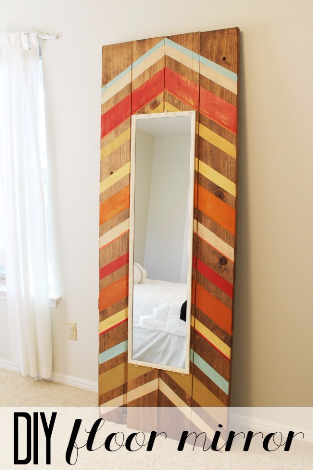 DIY Mirrors - DIY Full Length Floor Mirror - Best Do It Yourself Mirror Projects and Cool Crafts Using Mirrors - Home Decor, Bedroom Decor and Bath Ideas - Step By Step Tutorials With Instructions